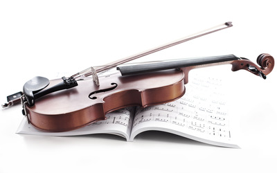 Violin and music sheet wallpaper
