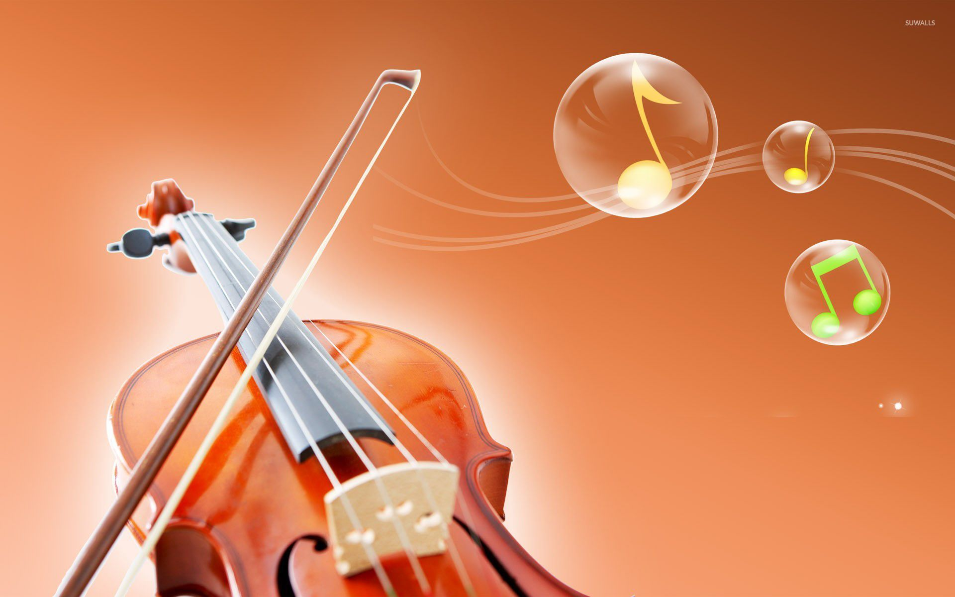 Violin and notes in bubbles wallpaper - Music wallpapers ...