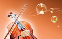 Violin and notes in bubbles wallpaper 1920x1200 jpg