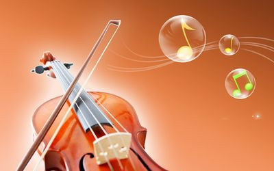 Violin and notes in bubbles wallpaper