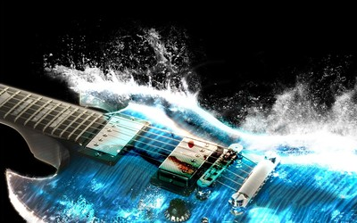 Water guitar wallpaper