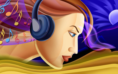 Woman with headphones wallpaper