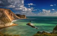 Amazing blue sky above the rocky bay wallpaper 3840x2160 jpg