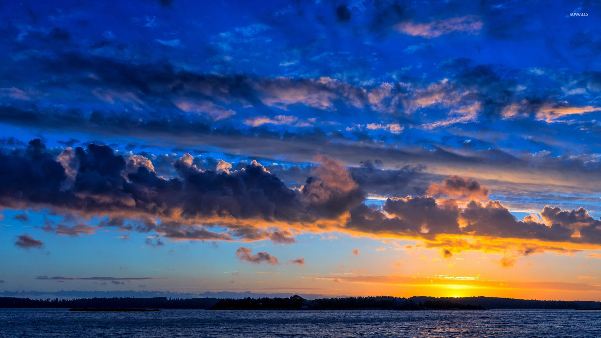 Amazing blue sky at sunset wallpaper - Nature wallpapers ... - photo#48