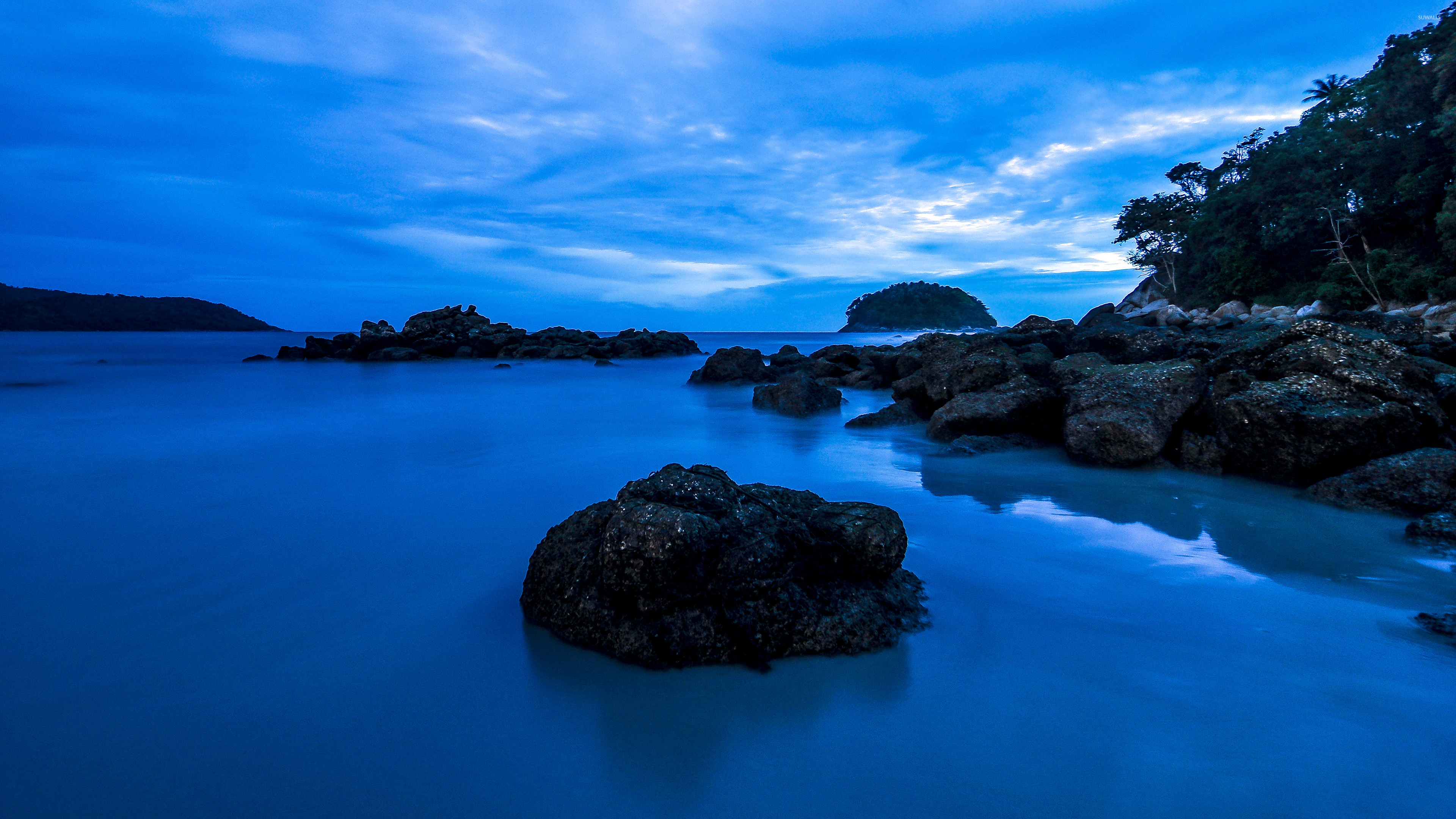Amazing blue water at sunset wallpaper - Nature wallpapers ... - photo#36