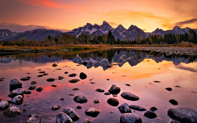 Amazing sunset in Grand Teton National Park wallpaper