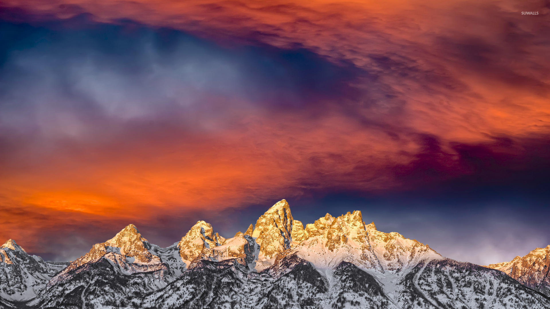 Amazing sunset sky above the snowy mountains wallpaper ...