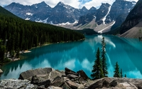 Amazing turquoise water in Moraine Lake wallpaper 1920x1200 jpg