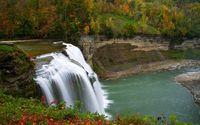 Amazing waterfall in an autumn forest wallpaper 2560x1600 jpg