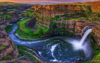 Astonishing waterfall in the beautiful canyon wallpaper 2560x1600 jpg