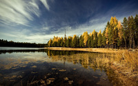 Autumn forest by the lake [5] wallpaper 1920x1200 jpg