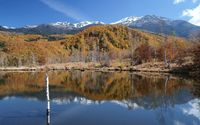 Autumn forest reflecting in the calm mountain lake wallpaper 1920x1200 jpg