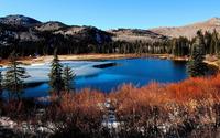 Beautiful half frozen mountain lake wallpaper 1920x1080 jpg