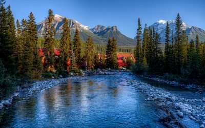 Beautiful huts in Banff National Park wallpaper
