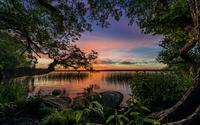 Beautiful sunset at the lake wallpaper 1920x1200 jpg