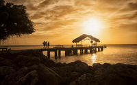 Beautiful sunset over the pier wallpaper 1920x1200 jpg