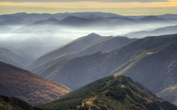 Beautiful sunset sky above the foggy high mountains wallpaper 1920x1080 jpg