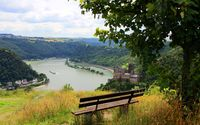 Bench facing the small village and river wallpaper 2880x1800 jpg