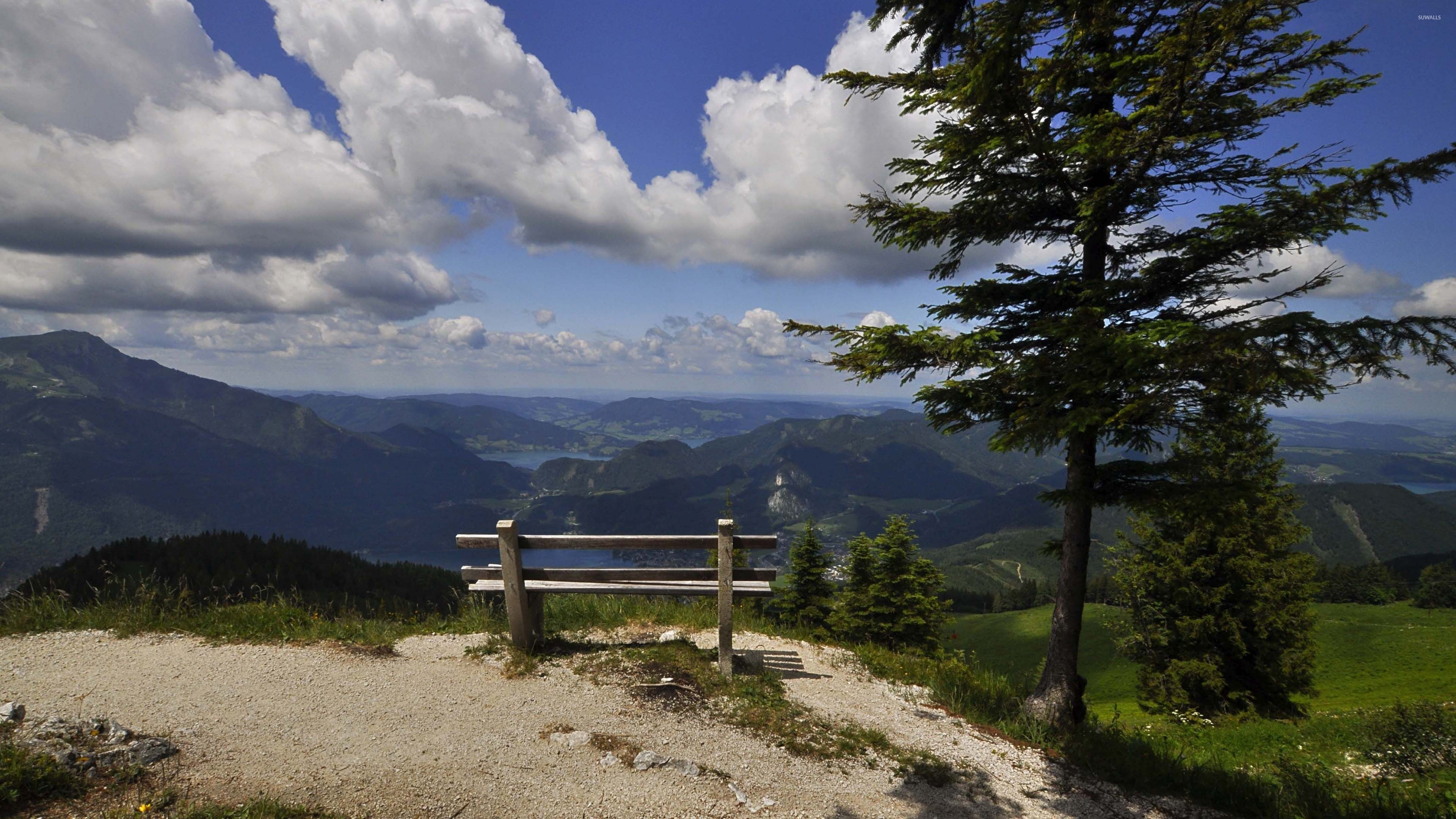 Bench On The Edge Of The Mountain Wallpaper Nature Wallpapers
