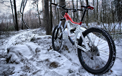 Bicycle in the snowy forest wallpaper