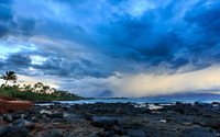 Blue clouds above the rocky shore wallpaper 3840x2160 jpg