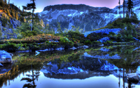 Blue winter in the mountains by the lake wallpaper 2560x1600 jpg