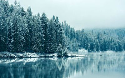 Blue winter lake wallpaper