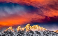 Breathtaking sunset over the mountain peaks wallpaper 2560x1600 jpg