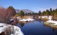 Bridge crossing the snowy river wallpaper 2560x1600 jpg