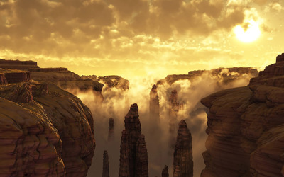 Canyon in the morning wallpaper