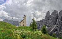 Church aside the rocky peaks wallpaper 2560x1600 jpg
