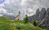 Church aside the rocky peaks wallpaper 2560x1600 jpg