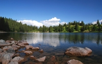 Clear blue sky above the wrinkled lake water wallpaper 2560x1600 jpg