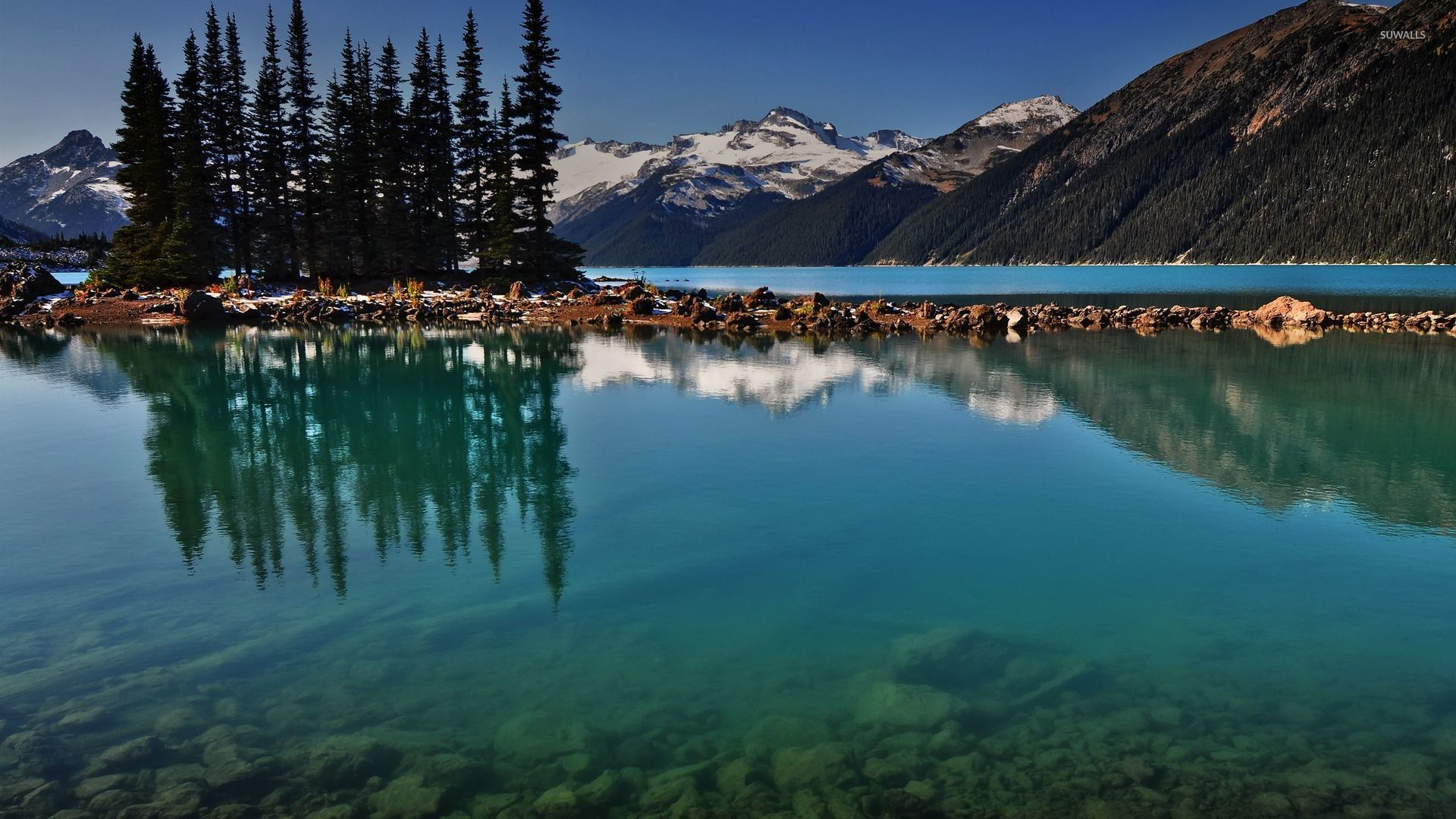 Clear Lake Water By The Snowy Mountains Wallpaper Nature