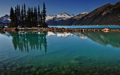 Clear lake water by the snowy mountains wallpaper
