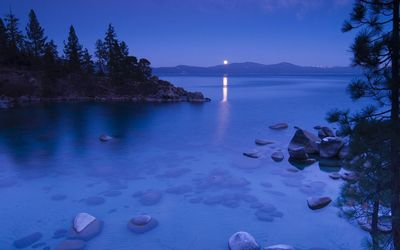 Clear moonlit lake wallpaper