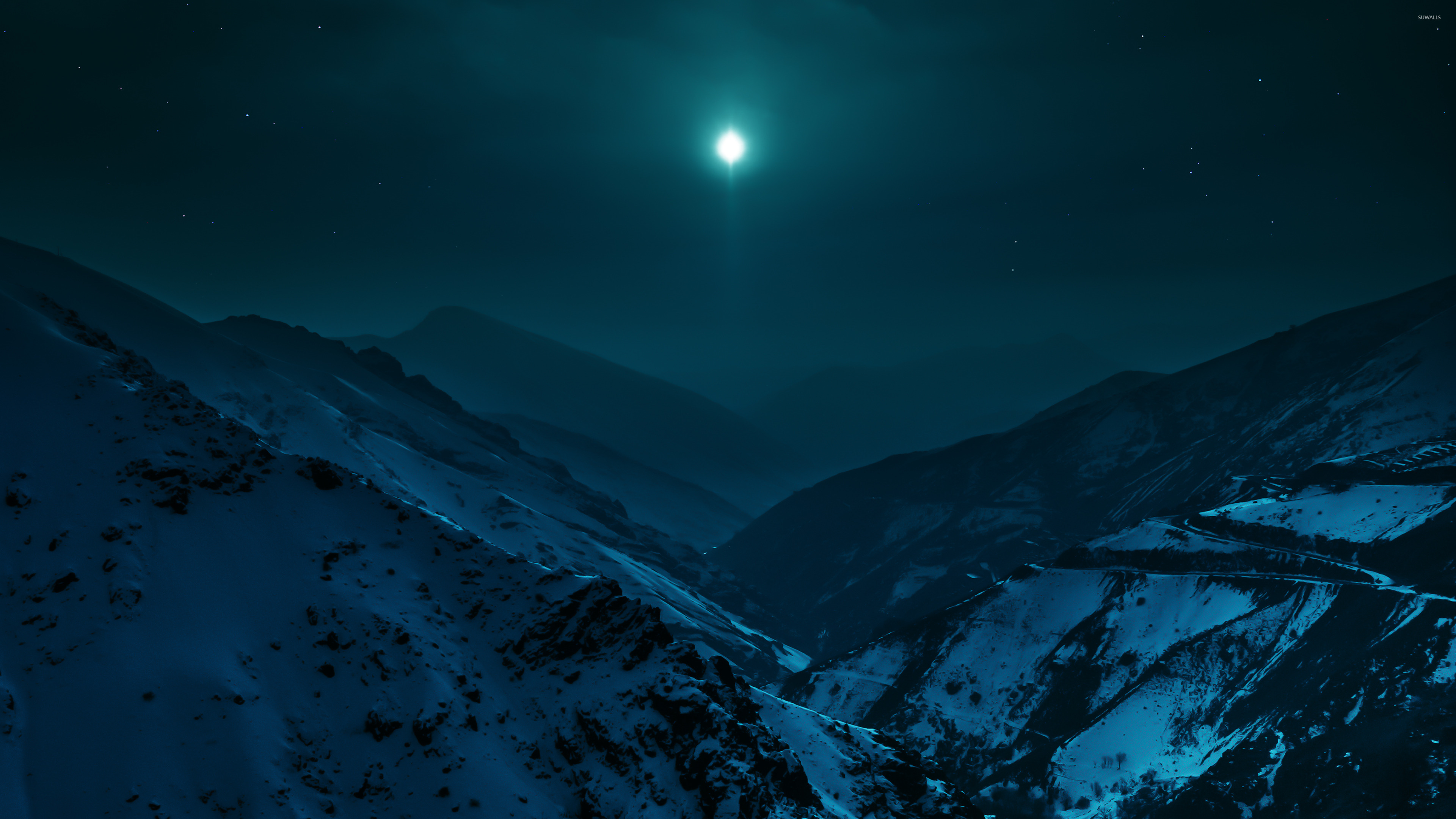Clear Sky Over The Snowy Mountains Wallpaper Nature