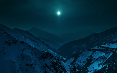 Clear sky over the snowy mountains wallpaper