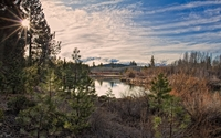 Clouds above the autumn nature by the lake wallpaper 2560x1600 jpg