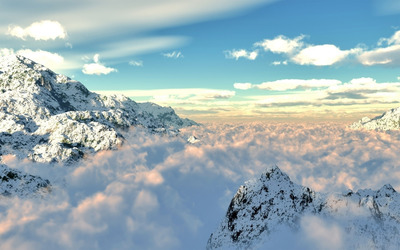 Clouds in the mountains wallpaper