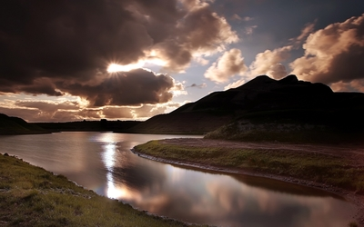 Clouds over the mountain river wallpaper