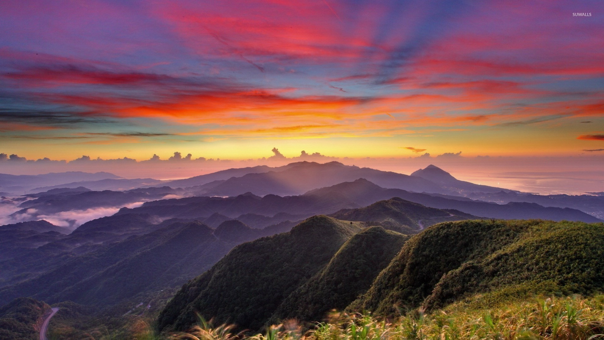 colorful mountain sunrise wallpaper nature wallpapers