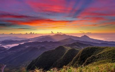 Colorful mountain sunrise wallpaper