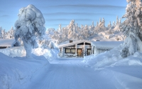 Cozy small hut under the thick snow wallpaper 1920x1080 jpg