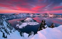 Crater lake during winter wallpaper 1920x1080 jpg