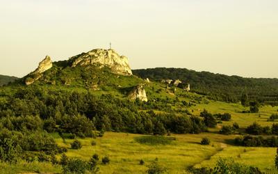 Cross on the rocky hill wallpaper