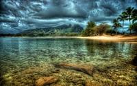 Dark clouds over the rocky lake wallpaper 1920x1200 jpg