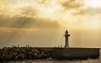 Fishing by the lighthouse wallpaper 1920x1080 jpg