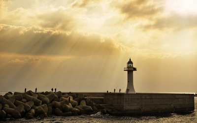 Fishing by the lighthouse wallpaper