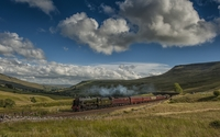 Fluffy clouds over the railway wallpaper 1920x1200 jpg